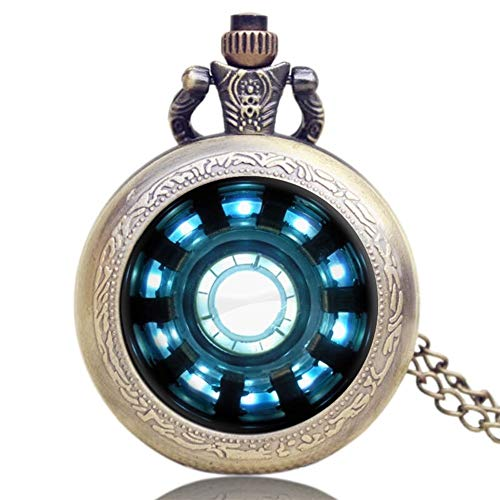 WANGMIN Moda Iron Man Películas Extensión Tony Stark Iron Man Cadena Reactor del Arco Jarvis Diseño Reloj de Bolsillo con el Collar Reloj de Bolsillo-8.22