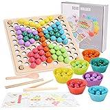 Herefun Holz Clip Perlen Spiel Puzzle Board, Holz Clip Beads Brettspiel, Montessori Pädagogisches Holzspielzeug, Holz Clip Perlen Regenbogen Spielzeug für Kinder Zahlen, Geschenk für Mädchen