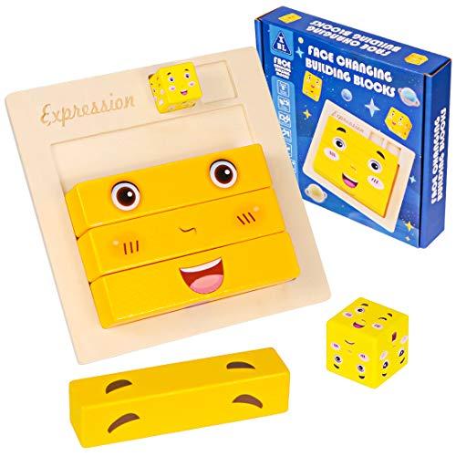 Zaloife Puzzles Brain Teaser, Gesichter Würfel, Puzzle Bauen Holzwürfel, Montessori Holz Lernspielzeug,...