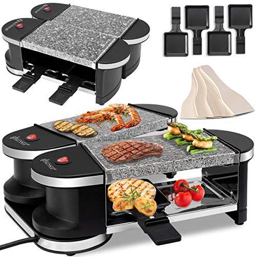 KESSER® 2in1 Raclette - Tischgrill, Grill Partygrill, für 4 Personen 2 x Natursteinplatte,360° Gelenk, Leistung: 600 Watt, 4 Pfannen und Holzspatel,