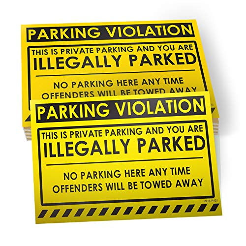 No Parking Violation Stickers Hard to Remove (Yellow) 10-Pack Illegal Parking Warnings and Towing Tags for Illegally Parked Vehicles in Your Lot � Super Sticky Car Permit Notices 8� x 5� by MESS