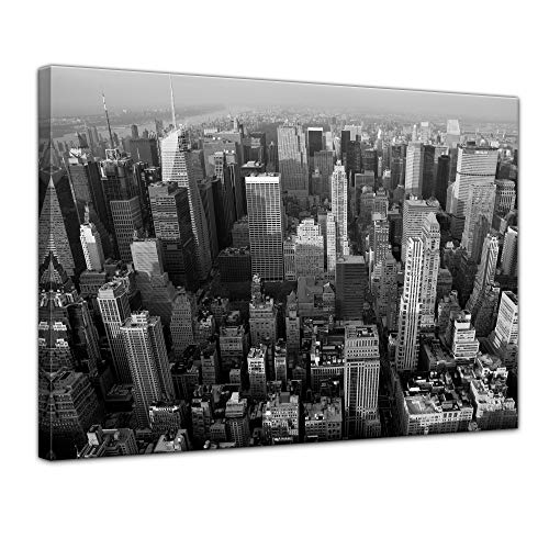 Wandbild - Skyline von New York - Bild auf Leinwand 50 x 40 cm - Leinwandbilder Bilder als Leinwanddruck Städte & Kulturen Amerika - New York - Manhattan - schwarz weiß