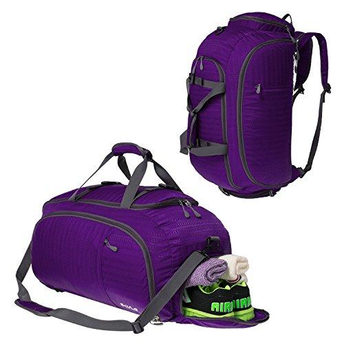 Coreal Unisex Reise Rucksack Gym Sporttasche mit Schuhfach Lila