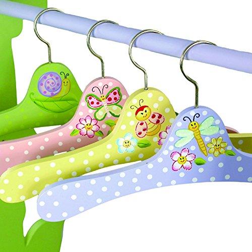 4 perchas infantiles de madera rosa para la ropa Fantasy