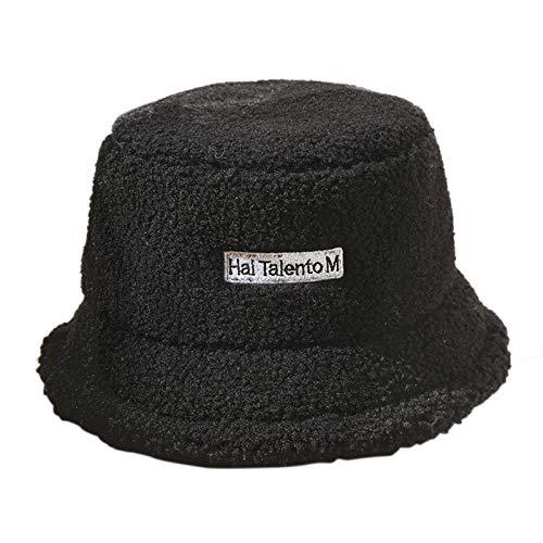 N\A Women Winter Bucket Hat Fluffy Faux Fur Fisherman Cap for Women Teen Girls (Black)