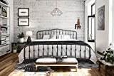 Novogratz Bushwick Metal Bed with Headboard and Footboard | Modern Design | King Size - Grey