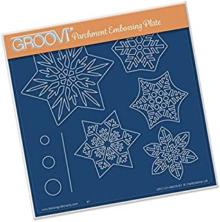 Groovi Parchment Embossing Plate A5 Sq ~ Snowflakes, Laser Etched Acrylic for Parchment Craft