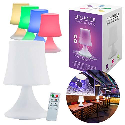 GOODS+GADGETS LED Outdoor Tisch-Lampe kabellos mit 2000 mAh Akku Leuchte USB aufladbar; wasserdichte Außen-Tischleuchte mit Fernbedienung