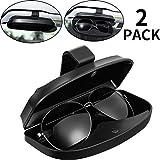 2 Soportes de Gafas de Coche Estuche de Visera, Soporte Universal de Automoción ABS de Gafas Clip de Protección Organizador de Depósito de Carcasa con Cierre Magnético, 2 Ranuras deTarjetas de Crédito