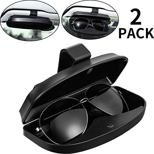 2 Packs Car Glasses Holder Sun Visor Glasses Case, Universal Automotive ABS Eyeglasses Holder Protective Box Clip Eyewear Hard Shell Storage Organizer with Magnetic Closure, 2 Credit Card Slot (Black)