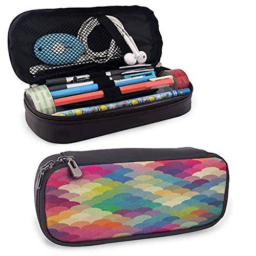 Kleine Bleistift-Tasche aus abstraktem PU-Leder, bunte Schuppen im Retro-Stil Inspiriertes Wellenmuster Überlappende Kreise Punkte Fliese Zi