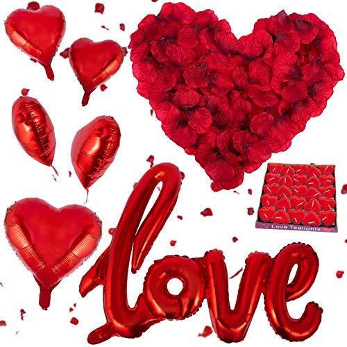 3200 Piezas Pétalos de Rosa, Kit de Pétalos de Rosa Rojos Artificiales, 50 Velas en Forma de Corazón y 5 Globos Corazón Rojo para Bodas Decoración, Fiestas, día de San Valentín y Proponer