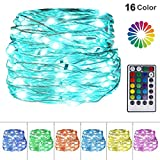 Twinkle Star USB Fairy String Lights, 33Ft 100 LED Waterproof 16 Colors Changing Sliver Wire Lights with 4 Lighting Modes Remote Control for Craft Bedroom Ceiling Wedding Christmas Decoration