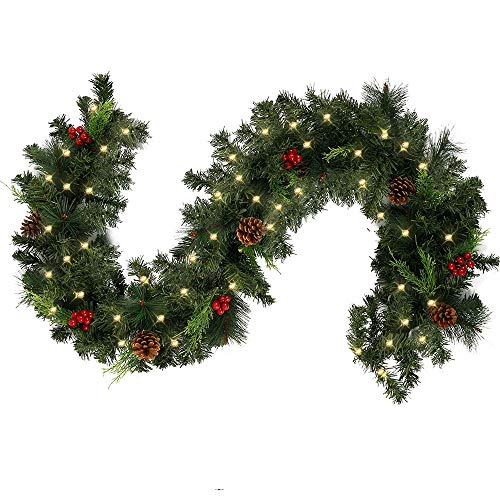 Weihnachtsgirlande mit Beleuchtung Lichterkette, Weihnachtsdeko Künstliche Tannengirlande Beeren Zapfen Geschmückt Weihnachten Dekoriert für Kamine Treppen Wand Tür (Mit Lichterkette, Girlande 1.8M)