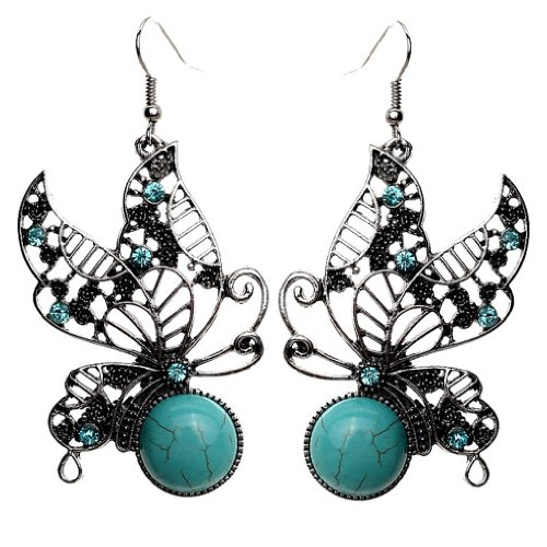 Forma Yazilind Mariposa azul de plata tibetano de la turquesa cristalino adorna la turquesa de la gota cuelga los pendientes