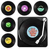 GoldOars 6 Posavasos De Vinilo Aislante Antideslizante, Diseño De Disco CD Vintage, Posavasos De Alfombra Antideslizante...