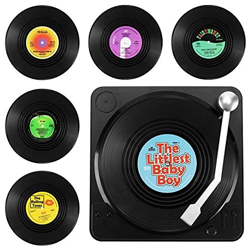 GoldOars 6 Posavasos De Vinilo Aislante Antideslizante, Diseño De Disco CD Vintage, Posavasos De Alfombra Antideslizante para Tazas De Café U Otras Bebidas, con Soporte para Discos (Vistoso M1)