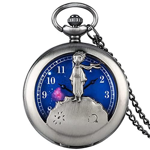 TYYW Lásico El Little Prince Película Planeta Blue Bronce Vintage Cuarzo Bolsillo Fob Watch Gifts Popular Regalos para niños Niños
