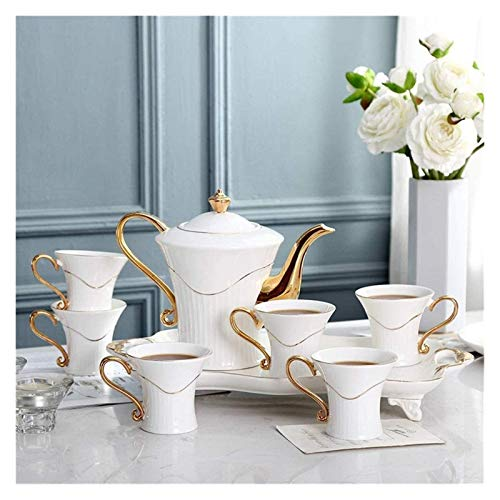 Beautiful Fancy Tea Cups Set, Portable Kungfu Tea Set, Simple 8 Pieces Gold Trim European Style Afternoon Tea Drinkware Coffee Set For Party And Dinner Glazed Porcelain, Tea Mugs Gifts for Women and M