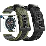 Maxjoy Compatible Galaxy Watch 46mm Bands, Gear S3 Bands S3 Frontier Classic Nylon Band 22 mm Replacement Strap+Screen Protector Compatible with Samsung Galaxy 46mm/ Gear S3 Watch, 2 Pack, Black+Green