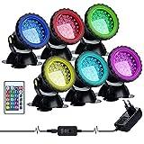 Lychee LED Lighting Gartenteich Lampe RGB Aquarium Licht, Fernbedienung Unterwasser Spot Licht IP68 Wasserdicht für Gartenteich Aquarium Beleuchtung, EU stecker (6 stücke)