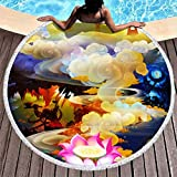 MINNOMO - Telo da spiaggia rotondo con nappe, stile giapponese, rosa, loto, oni, nuvole, stampa Ukiyoe, vacanze, frange rotonde, copridivano, bianco, Taglia unica