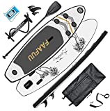 FaaFuu Inflatable Stand Up Paddle Board with SUP Accessories & Backpack, Non-Slip Deck, Waterproof Bag, Leash, Paddle and Hand Pump,Black