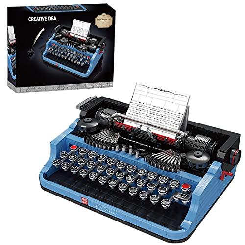 WWEI Máquina de escribir azul con bloques de construcción Mould King 10032, máquina de escribir retro, 2139 + piezas de sujeción, compatible con Lego 21327