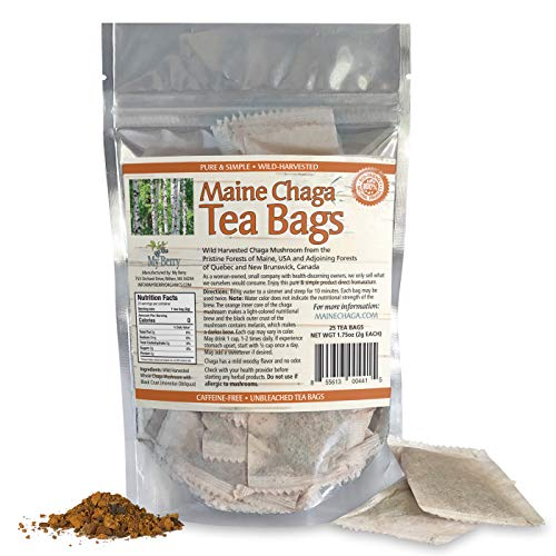 Maine Chaga Tea Bags, Wild Harvested & Pesticide Free, 25 Bleach-Free Bags, Not Imported Chaga But Grown In Maine, USA And Our Neighboring Forest Of New Brunswick, Canada