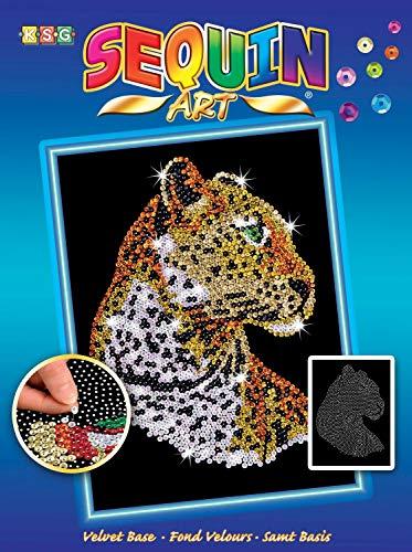 MAMMUT 8041208 - Sequin Art Paillettenbild Leopard, Steckbild, Bastelset mit Styropor-Rahmen, samtige Bildvorlage, Pailletten, Steckstiften, Anleitung, für Kinder ab 8 Jahre