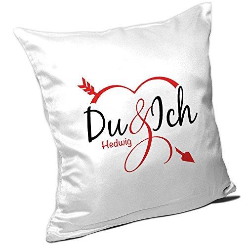 Kissen mit Namen Hedwig und schönem Motiv - Du und ich - für Verliebte zum Valentinstag | Liebes-Kissen | Valentins-Geschenk