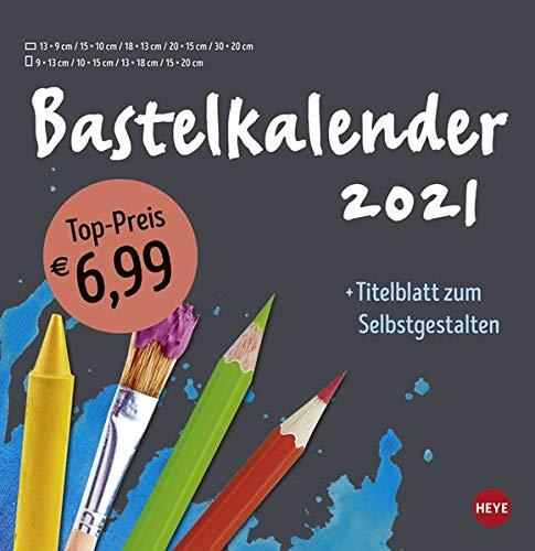 Bastelkalender 2021 anthrazit groß - mit Titelblatt zum Selbstgestalten und Monatskalendarium - Format 32 x 33 cm