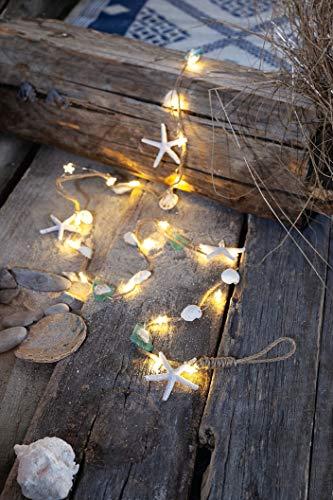 LED Lichterkette'Ocean' mit 20 warmweißen LED's und Muscheln & Seesternen