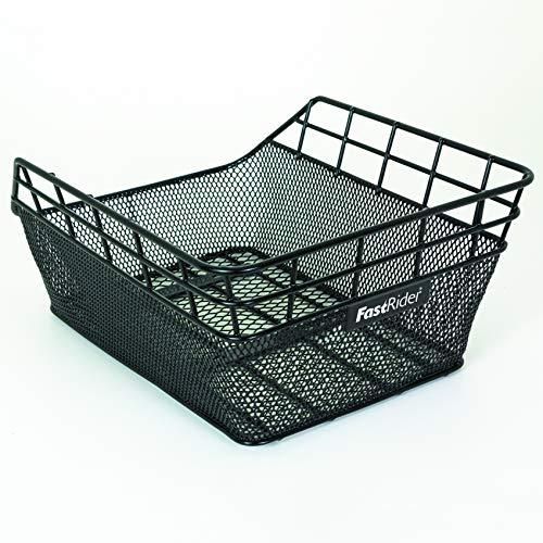 FAST RIDER Korb für Heckträger | Inklusive Montage | 25 Liter | Metall | 20x31x45 cm | Schwarz