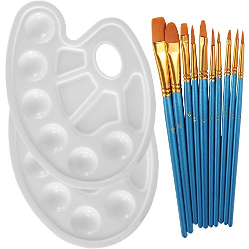 Heartybay 10Pieces Round Pointed Tip Nylon Hair Brush Set with 2 Piece Paint Tray Palette Paint Brushes Set for Easter Decoration Easter Eggs Craft