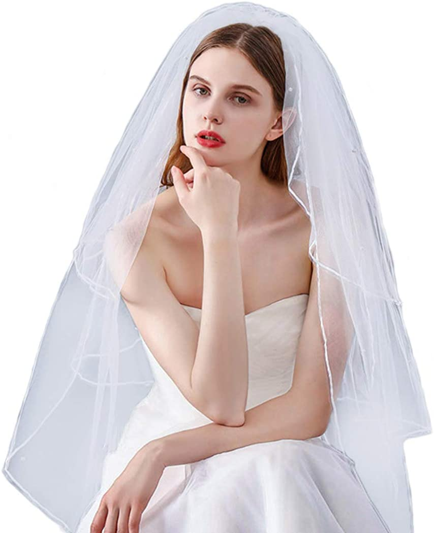 LittleB Wedding Veil 3 Tiers Fingertip Length Short Pearl Chapel Bride Headpieces Bridal Tulle Hair Accessories with Comb