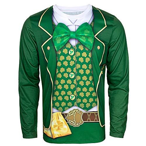 COSAVOROCK Disfraz de Leprechaun Hombre Traje de San Patricio Camiseta Manga Larga (XL, Monedero)