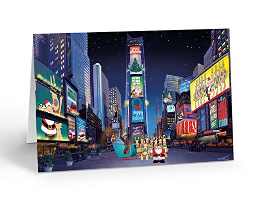 Times Square Funny Christmas Cards - 18 New York Christma Cards & Envelopes - New York City