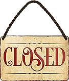 Cartel de chapa con texto 'Closed' decorativo para puerta de entrada de casa, cartel para tienda, bar, bar, mostrador, bar, bar, bar, bar, bar, 18 x 12 cm
