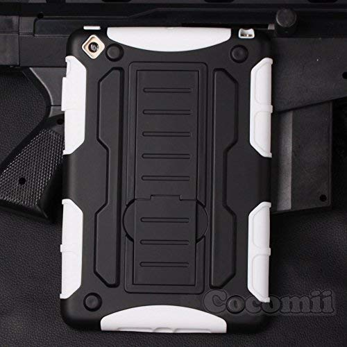 Cocomii Robot Armor iPad Mini 3/2/1 Case New [Heavy Duty] Premium Tactical Grip Kickstand Shockproof Bumper [Military Defender] Full Body Dual Layer Rugged Cover for Apple iPad Mini 3/2/1 (R.White)
