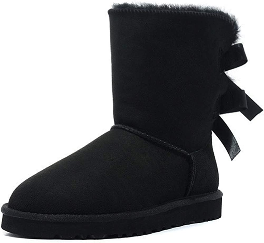 JOY IN LOVE Women's Snow Boots for Winter Mid-Calf high Back Bows