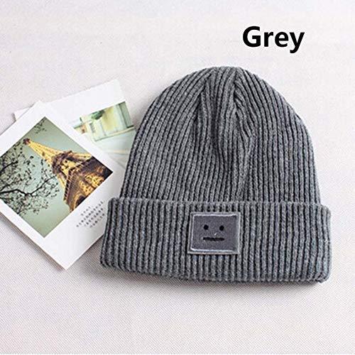 ERIOG Strickmütze Hut Herbst Winter Mode Warme Strickmütze Britischen Stil Smiley Kopf Lässige Strickmütze Für Frauen Im Freien Headwear