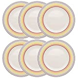BUGATTI COMBO-3351 Large Dinner Plates, 27 cm, Set of 6, Ceramic, Multicoloured Striped
