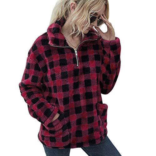 LIVACASA Hoodie Damen Fleece Sweatshirt Winter Warm Pullover Weich Mädchen Oversized Teddy Fleece Pullover Plüsch Flauschig Pulli Winterpullover Sweater Langarm Pulli mit 2 Tasche Rot M