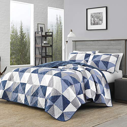 Eddie Bauer Home   North Cove Collection   Bedding Set-1% Cotton Light-Weight Quilt Bedspread, Pre-Washed for Extra Comfort, Full, Navy