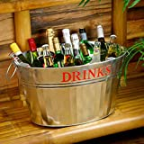 Galvanised Steel Drinks Party Tub with Embossed DRINKS Text for Vintage Drinks Service