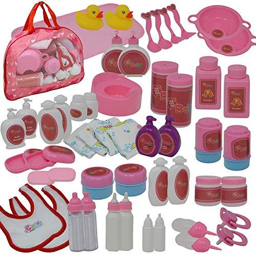The New York Doll Collection 50 Pieza Bebé Muñeca Juego de Accesorios de Alimentación y Cuidado en Estuche de Transporte con Cremallera - Accesorios para Muñecas