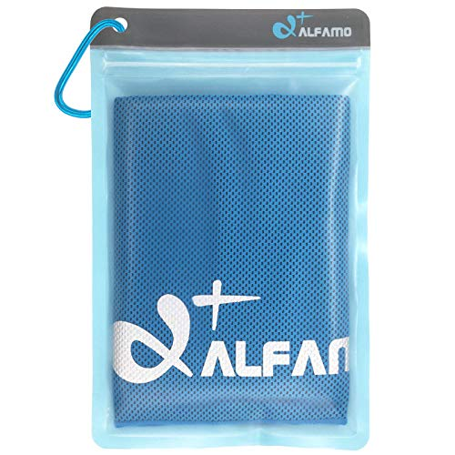 Alfamo Cooling Bandana Towel (Blue, S) Ultra Soft Breathable Mesh Yoga Towel Cold Towel for Instant Relief for Baby Boys Girls Kids Children, Keep Cool for...