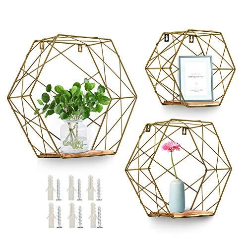 AGSIVO 3er Set aus Holz und Metall Hexagon Wandregal Hängeregal Schweberegal Badregal Dekorative Regale Mit Brettern, für Küchenregal, Badezimmer, Wanddekoration (Golden)