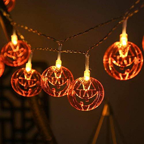 Calabaza de Halloween luces de cadena, fantasma de la linterna, luces de cadena 3M 20 luces LED colgante del horror de Halloween Decoración, Iluminación de la batería Modos de funcionar en exteriores